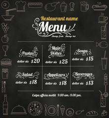 Restaurant Food Menu Design with Chalkboard Background vector fo