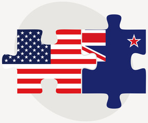 USA and New Zealand Flags in puzzle