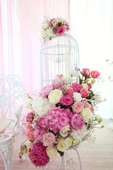 Beautiful wedding flowers in restaurant