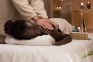 Woman enjoys massage
