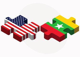 USA and Myanmar Flags in puzzle