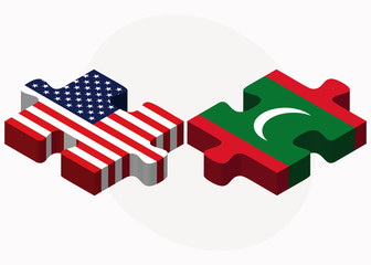 USA and Maldives Flags in puzzle