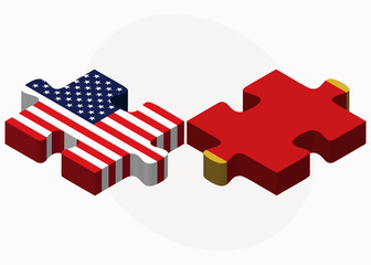 USA and Montenegro Flags in puzzle