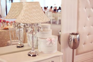 Beautiful elegant lamp in the restaurant