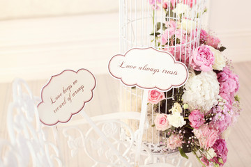 Beautiful wedding flowers with qoutes about Love