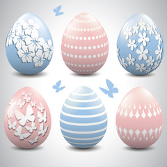 Baby blue and baby pink Easter eggs.