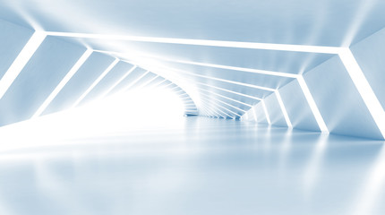 Fototapeta Abstract empty illuminated light blue shining corridor, 3d obraz