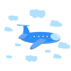 Cartoon plane in the sky with clouds