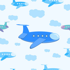 Seamless pattern Cartoon plane in the sky with clouds