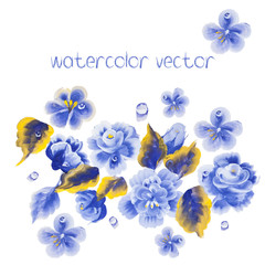 Watercolor Vector Flowers. Vector Watercolour Flowers.