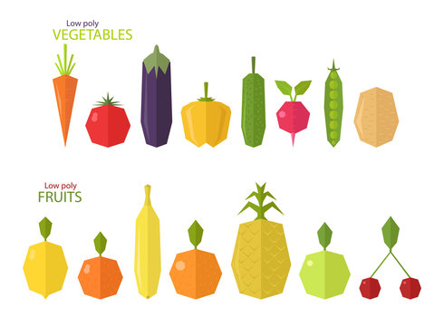 Vector set of low poly fruits and vegetables