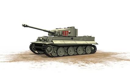 Tiger German Battle Tank - on white background