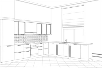 Facade kitchen vector sketch interior. Illustration created of