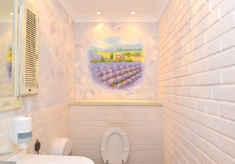 Bathroom interior in light tones with a wall list. Provence styl