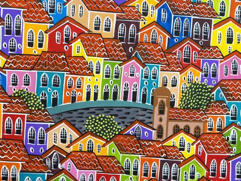 Painting of Pelourinho Buildings, Salvador, Bahia, Brazil