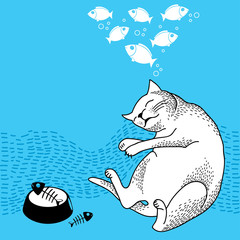 Funny dreaming cat. Series of comic cats