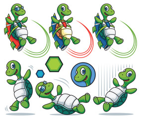 Cartoon Turtle Character Set