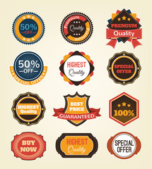 Vector vintage badges, stickers, ribbons, banners