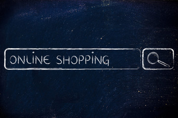 e-business and buying online: search bar wih tags Online Shoppin
