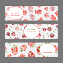 Set of Horizontal Fruit Banners. Harvest berry ornament. Vector