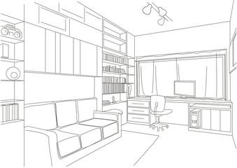 linear architectural sketch cabinet parlour