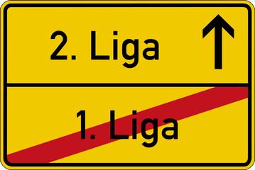 Ein Ortsschild mit den Wörtern 1. Liga und 2. Liga
