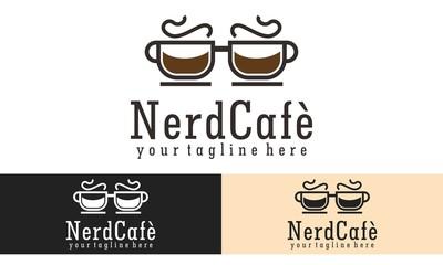 Nerd Cafe Logo Vector