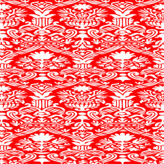 Red and white seamless pattern floral background