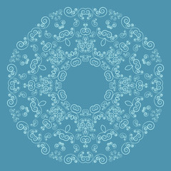 Round lacy pattern on blue background