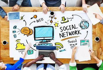 Wall Mural - Social Network Social Media Meeting Communication Workplace