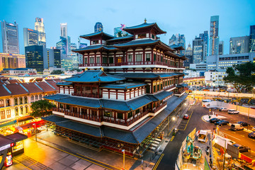 China Town area in Singapore with twilight time.