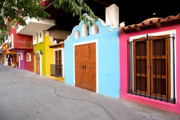 Bright facades of traditional Mexican architecture, Puerto Valla