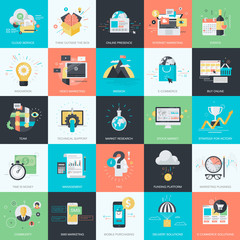 Set of flat design style concept icons for marketing, e-commerce