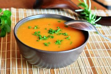Creamy Butternut Squash Soup In Ceramic Bowl