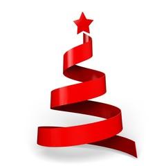 Christmas. 3D. Ribbon christmas tree