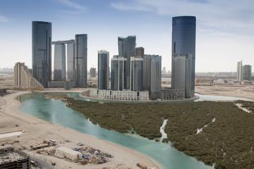Fototapete - Vue d'Abu Dhabi et mangrove