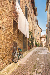 Beautiful and colorful streets of the small and historic Tuscan