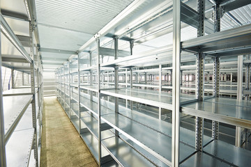 new modern shelves in warehouse