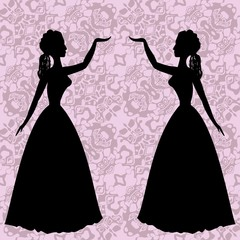 Mirror silhouettes dancing women in vintage rococo style