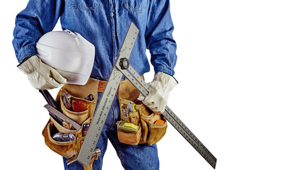 contractor carpenter repair man with tool belt isolated white