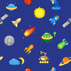 Seamless space pattern.  Planets, rockets and stars. Cartoon