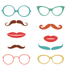Party set with mustaches, lips, eyeglasses