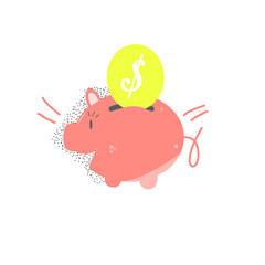 saving money,money box and coin over white color background
