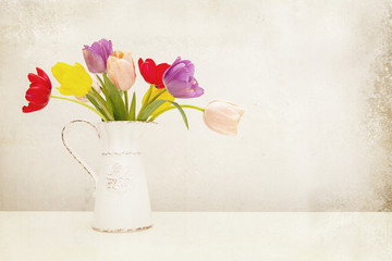 Tulips in Milk Pitcher Vintage Processing