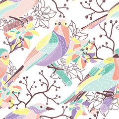 Wall Mural - Seamless floral pattern with birds