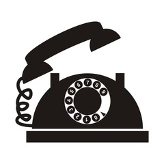 telephone with numbers, black silhouette