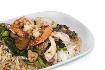 sea food  Thai fire rice on isolate