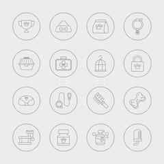 pet line icon set