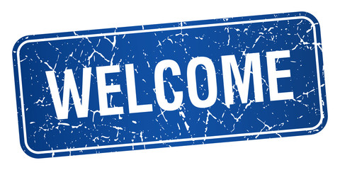 welcome blue square grunge textured isolated stamp