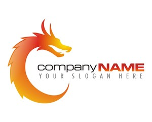 dragon fire flame burn image logo vector